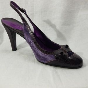 Gianni Bini Purple Crushed Velvet  & Leather Heels